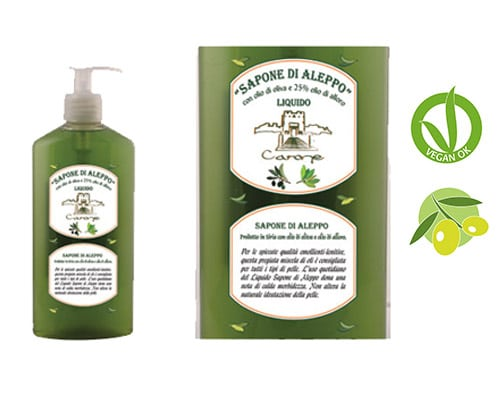 CARONE  Jabón natural Aleppo líquido 400 ml.