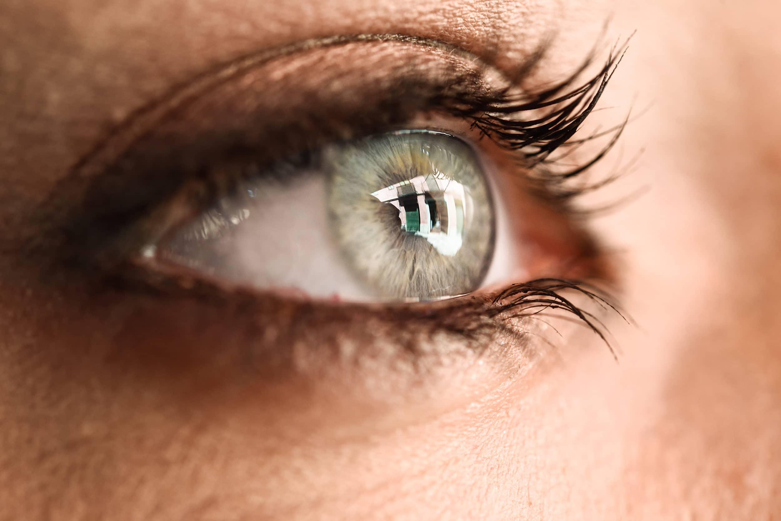 pestañas de un ojo azul de mujer